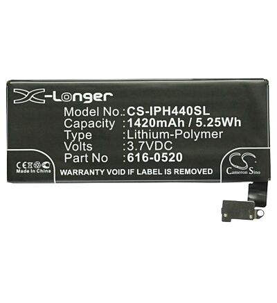 3.7V battery for Apple 616-0520, iPhone 4G 16GB, GB-S10-423482-0100, iPhone 4G 3