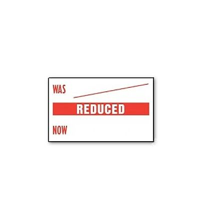 CT7 26x16 white printed red 'Was/Reduced/Now' Price Gun Labels (12K/10 reels or 36K/30 reels)