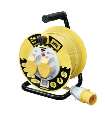 Masterplug LVCT2516/2 2 Gang 110V Outdoor 25m Yellow Cable Reel With Thermal Cut Switch