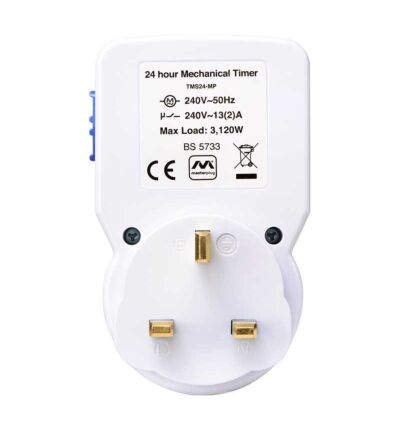 Masterplug TMS24 24 Hour Mechanical Segment Timer with Switch and Neon